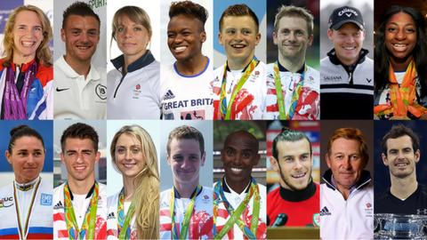 Sophie Christiansen, Jamie Vardy, Kate Richardson-Walsh, Nicola Adams, Adam Peaty, Jason Kenny, Danny Willett, Kadeena Cox, Dame Sarah Storey, Max Whitlock, Laura Kenny, Alistair Brownlee, Mo Farah, Gareth Bale, Nick Skelton, Andy Murray