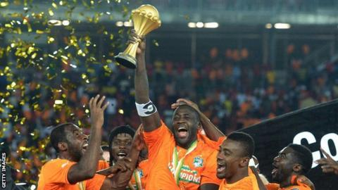 Ivory Coast's midfielder and the then captain celebrates with his teammates after winning the 2015 African Cup of Nations