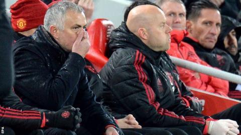 Jose Mourinho on the bench at Anfield on Sunday