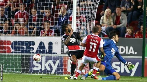 Jon Taylor puts Rotherham ahead against Nottingham Forest in the first half