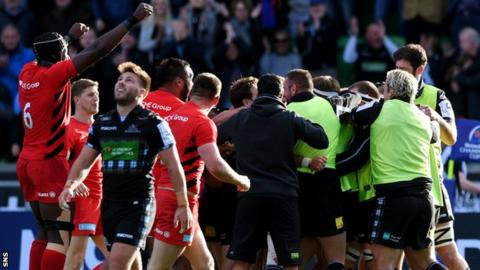 Saracens' Maro Itoje (left) celebrates as Glasgow Warriors have their try ruled out