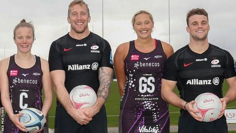 Players from Saracens Rugby Club and Saracens Mavericks mark the start of their new partnership