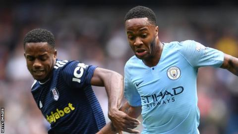 Ryan Sessegnon (left) battles for the ball with Raheem Sterling (right) in Fulham's away defeat by Manchester City on Saturday