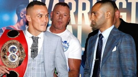Warrington (left) rubbished Galahad's claim he has faced better fighters in sparring