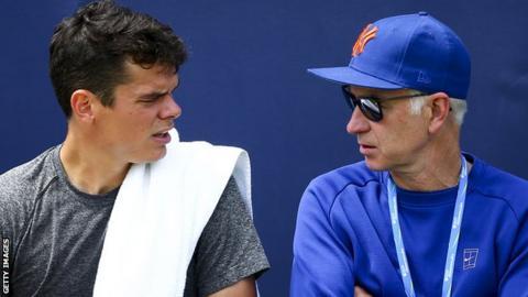 Milos Raonic and John McEnroe
