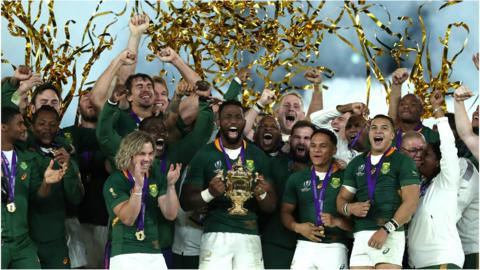 South Africa celebrate their World Cup win
