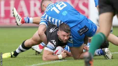 Andy Ackers scores Toronto Wolfpack's first try against Halifax