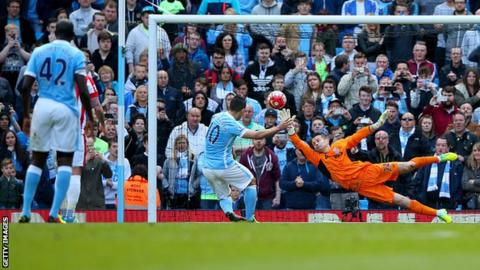Sergio Aguero scores for Manchester City from the penalty spot