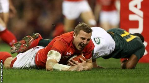 Hadleigh Parkes scored two tries on his Wales debut against South Africa in the 2017 autumn series