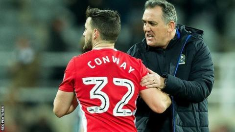 Blackburn Rovers manager Owen Coyle congratulates Blackburn Rovers midfielder Craig Conway