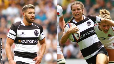 Rhys Webb and Jazmine Joyce in action for Barbarians against England