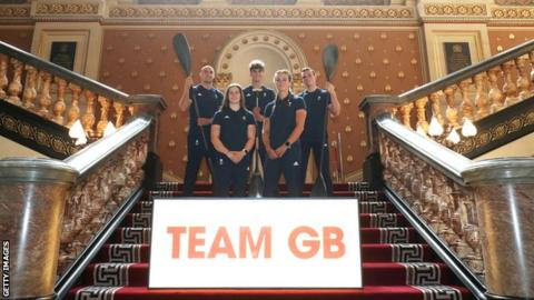 Liam Heath, Adam Burgess, Bradley Forbes-Cryans, Kimberley Woods and Mallory Franklin pose for a photo during the Team GB Tokyo announcement of Canoeing Team for Team GB