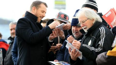 Birmingham City manager Gary Rowett signs autographs prior to his successful return to Derby with Blues in January