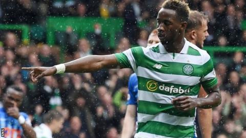 Moussa Dembele celebrates his first goal for Celtic