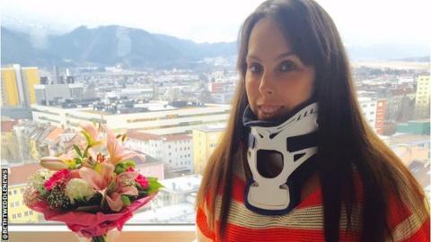 Beth Tweddle wearing a neck brace in hospital