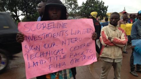 Protests were held outside the Uganda FA building