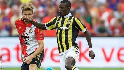 Abiola Dauda (right) runs with the ball for Vitesse Arnhem