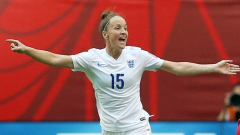 Casey Stoney in action for England