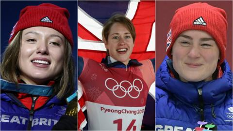 Lizzy Yarnold (centre), Izzy Atkin (left) and Laura Deas (right)