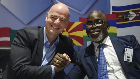 Fifa president Gianni Infantino (left) and Nigeria Football Federation president Amaju Pinnick