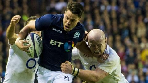 Sean Maitland takes on the England defence at Murrayfield