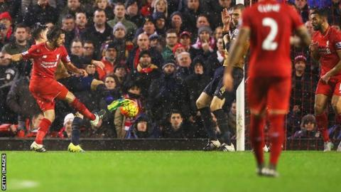 Joe Allen scores Liverpool's late equaliser against Arsenal