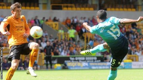 Wayne Routledge scores to give Swansea the lead against Wolves