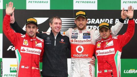 Jenson Button celebrates his last race win in 2012