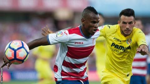 Granada defender Uche Agbo (left) is the only Nigerian currently playing La Liga