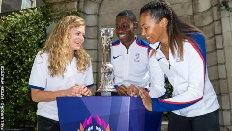 British athletes Beth Dobbin, Ojie Edoburun and Morgan Lake with the new Athletics World Cup trophy