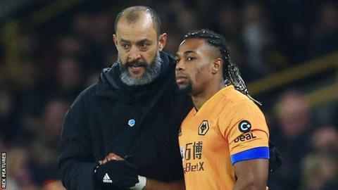 Wolves manager Nuno Espirito Santo (left) and Adama Traore