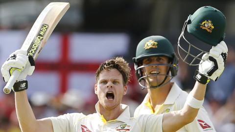 Steve Smith celebrates reaching 200