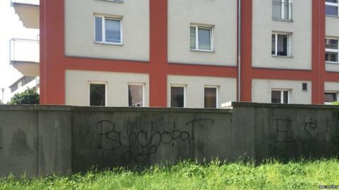 Graffitied wall outside Petra Kvitova's former flat