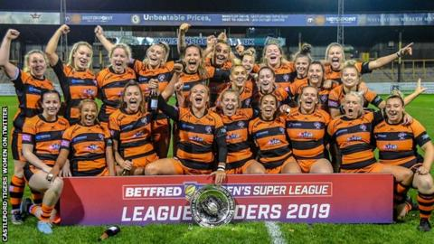 Castleford Tigers Women celebrate winning the Women's Super League leaders' shield