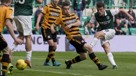 John McGinn knocks in the third goal for Hibernian at Easter Road