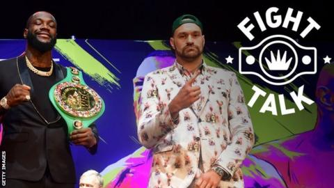 Briton Tyson Fury and American Deontay Wilder at a press conference for their 22 February rematch