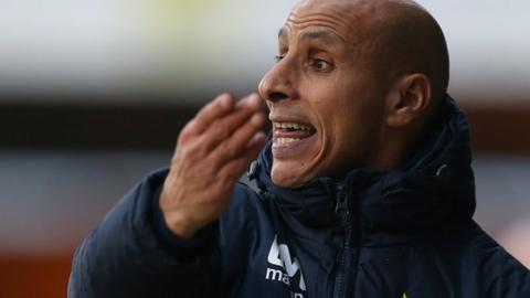 Dino Maamria shouts to his Stevenage players