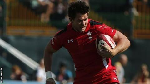 Jason Harries playing for Wales Sevens