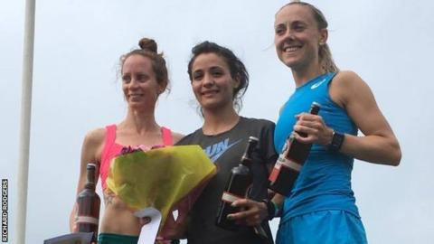 Kerry O'Flaherty (right) on the podium after finishing third in the 3,000m steeplechase at the Rasschaert Memorial meeting in Belgium