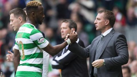 Celtic striker Moussa Dembele and manager Brendan Rodgers