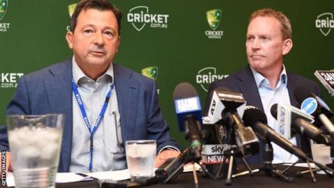 Cricket Australia's David Peever and Kevin Roberts