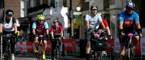 Cyclists taking part in RideLondon-Surrey in 2018