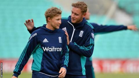 Joe Root and Stuart Broad in England training