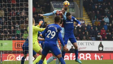 Chris Wood scores Burnley's winner against Everton