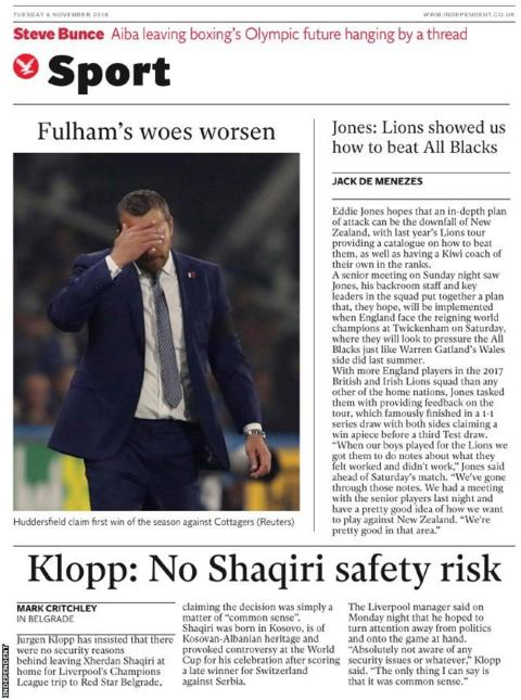 Tuesday independent back page