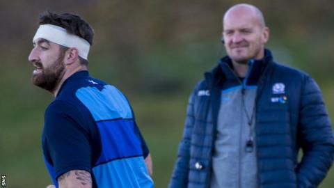 Gary Graham and Gregor Townsend at Scotland training