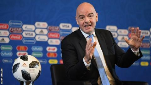 Fifa president Gianni Infantino speaks during a news conference for the 2018 World Cup draw