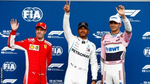 Ferrari's Sebastian Vettel, Mercedes' Lewis Hamilton, and Force India's Esteban Ocon