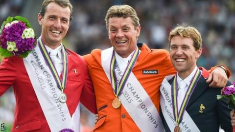 Jeroen Dubbeldam (centre) won the European individual