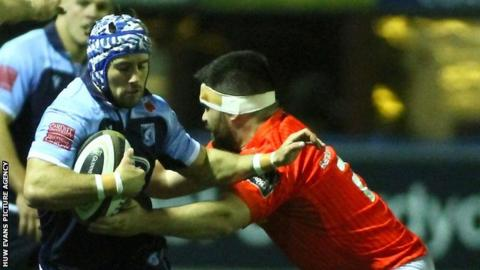 Cardiff Blues' Matthew Morgan in action against Munster